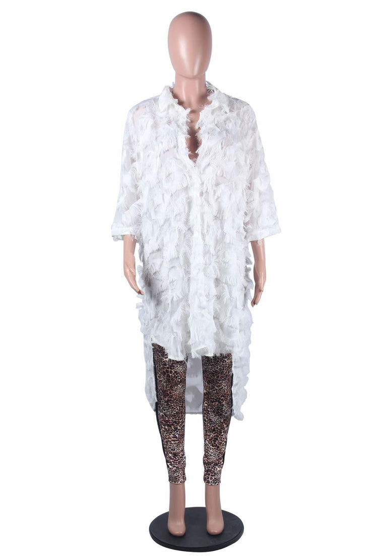 Feather Tassel Shirt Dress Autumn Sexy White Vintage Dresses Feather Tassel Shirt Dress Autumn Sexy White Vintage - Divinity-BoutiqueDresses