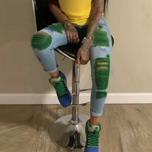 Colorful High Waist Pencil Jeans Pants Colorful High Waist Pencil Jeans - Divinity-BoutiquePants
