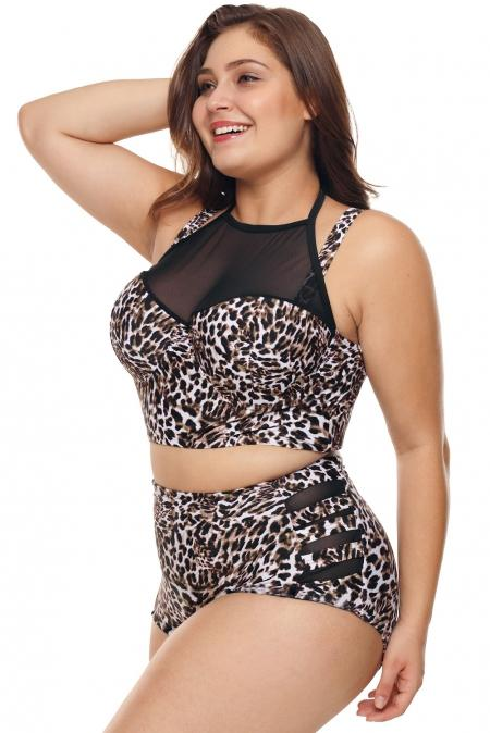 Leopard Halter Push up Lattice Mesh Women's Clothing Leopard Halter Push up Lattice Mesh - Divinity-BoutiqueWomen's Clothing