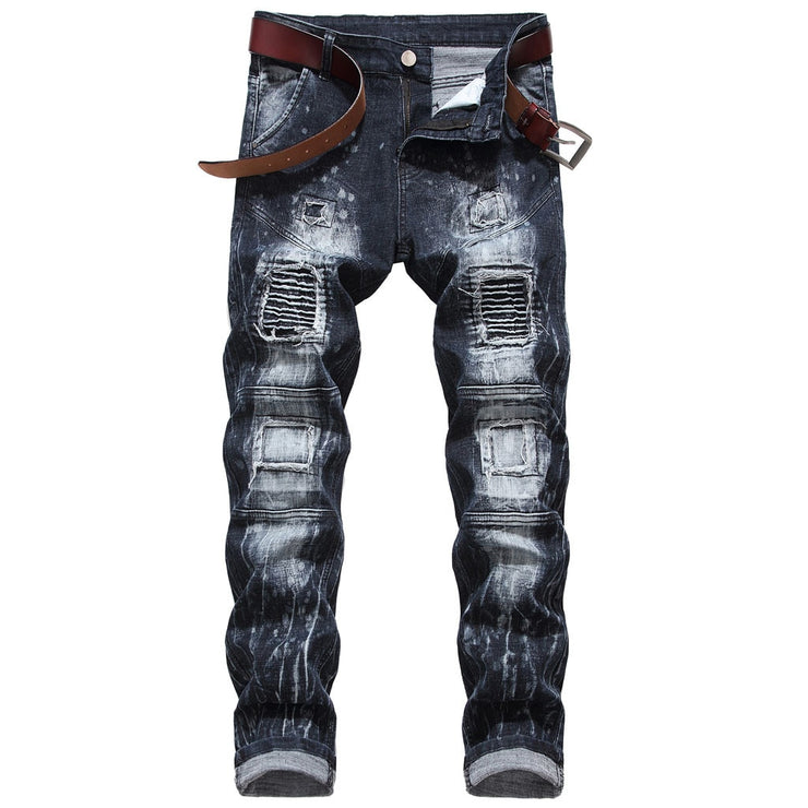 Men's New Fashion Elastic Personality Motorcycle Style Patchwork Denim Pants Men's New Fashion Elastic Personality Motorcycle Style Patchwork Denim - Divinity-BoutiquePants