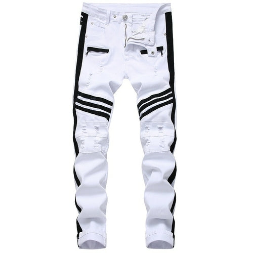 White Jeans Straight Zippers Contrast Color Pants White Jeans Straight Zippers Contrast Color - Divinity-BoutiquePants