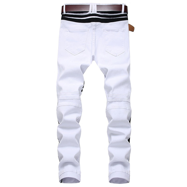 White Jeans Straight Denim Jeans with Zippers Contrast Color Pants White Jeans Straight Denim Jeans with Zippers Contrast Color - Divinity-BoutiquePants