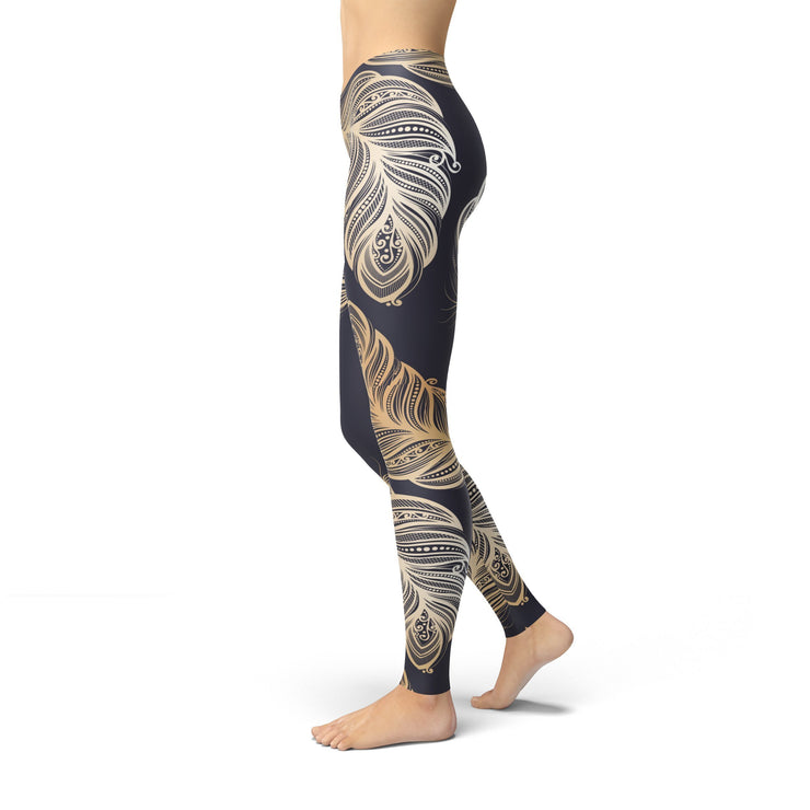 Jean Peacock Feathers Leggings Jean Peacock Feathers - Divinity-BoutiqueLeggings