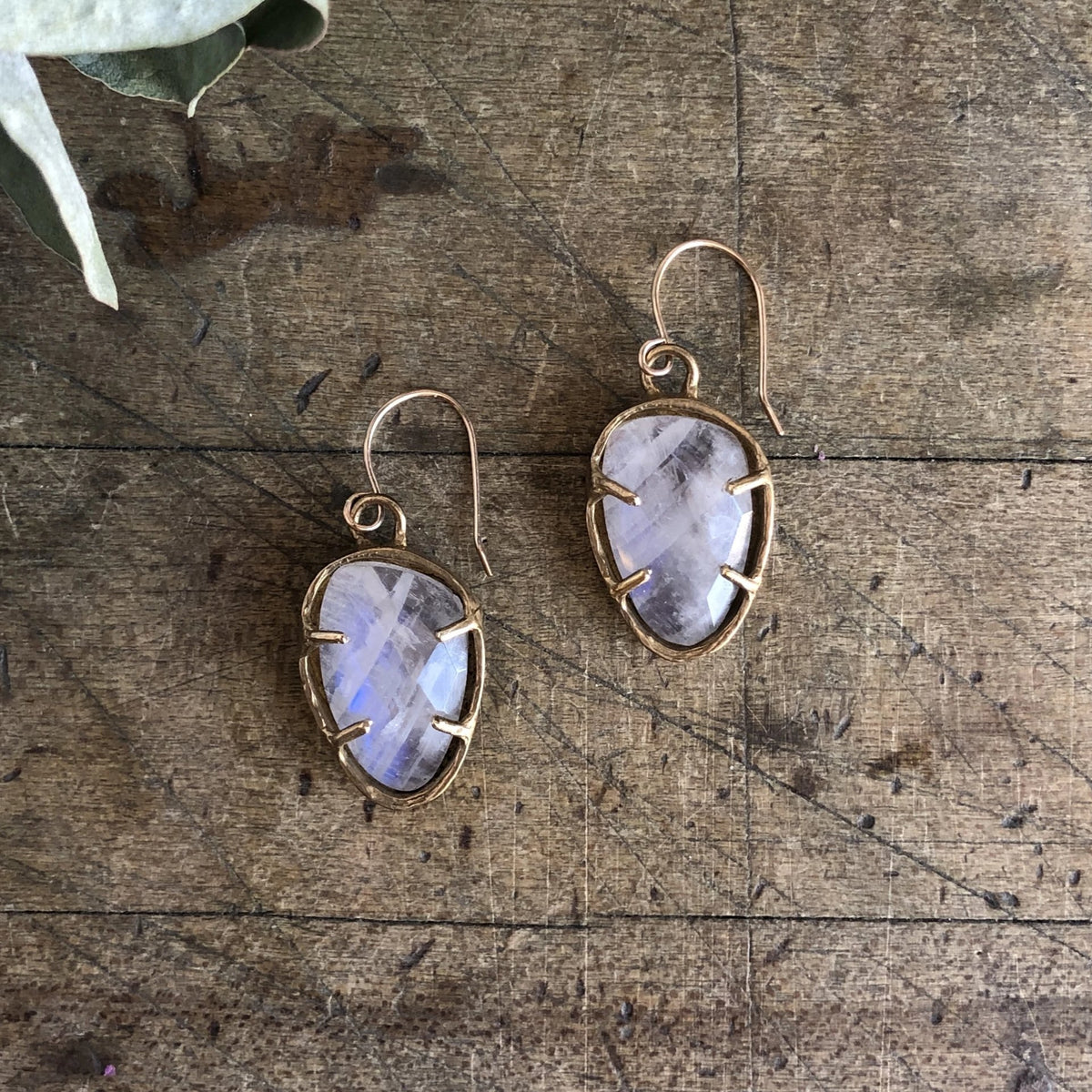 Rose Cut Moonstone Earrings