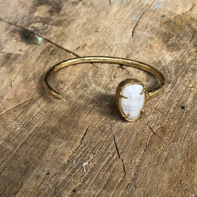 Small Rose Cut Moonstone Cuff