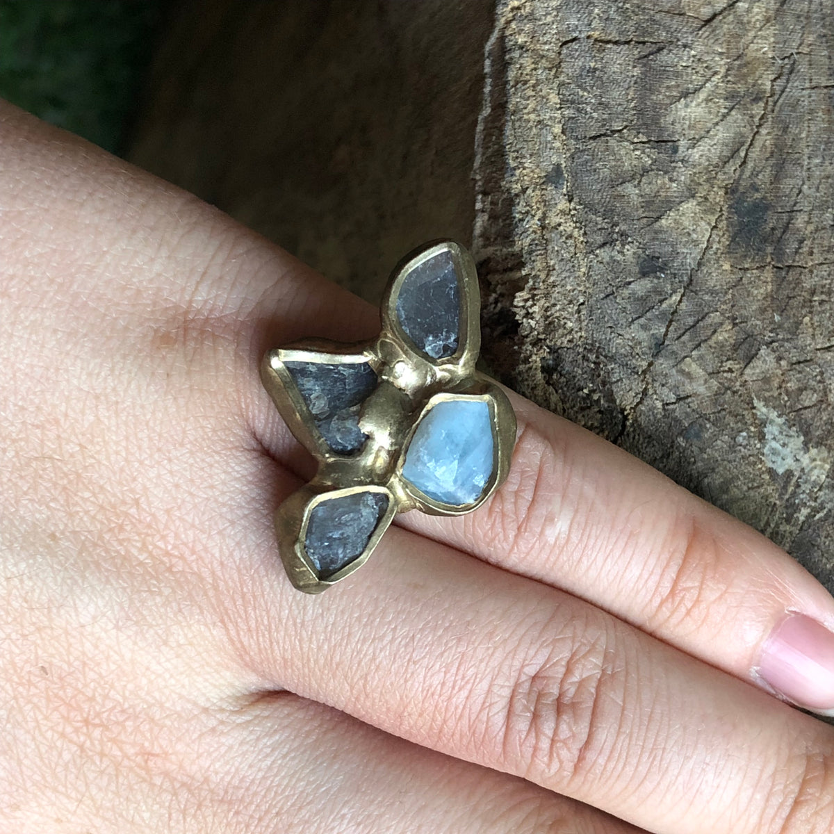 Aquamarine & Labradorite Ring