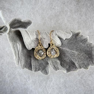Rough Diamond Halo Earrings