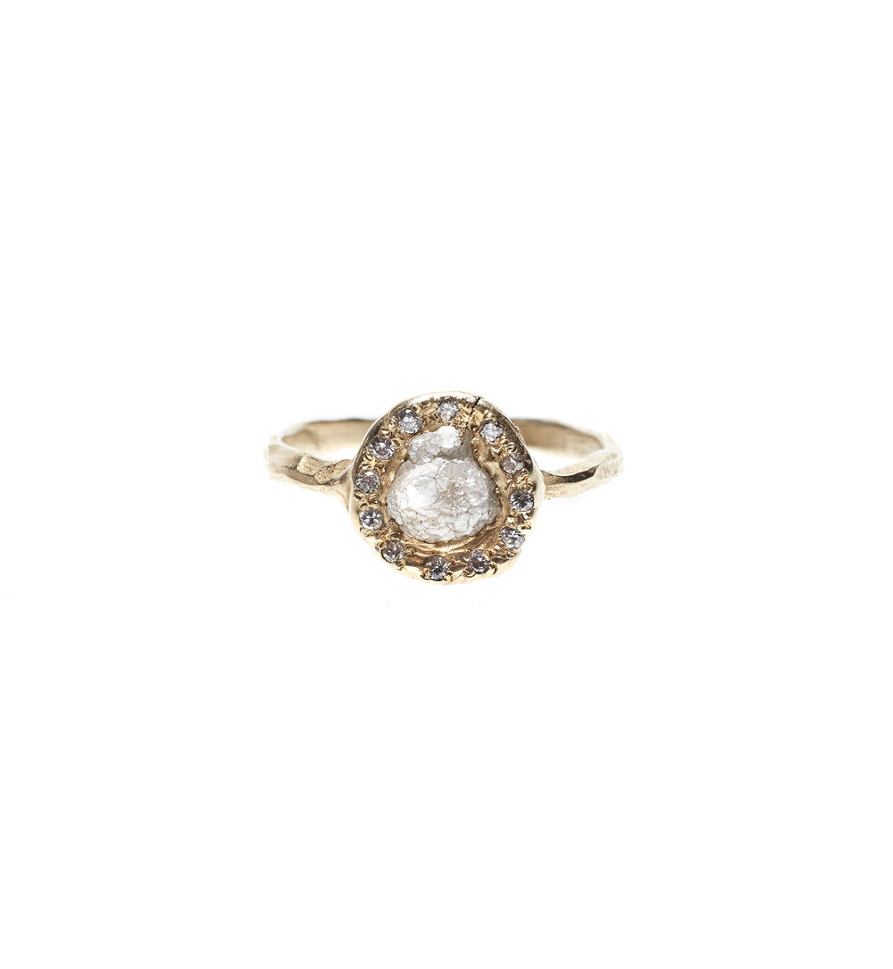 Rough Diamond Halo Ring