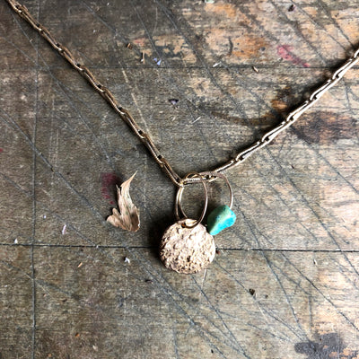 Full Moon Birthstone Charm Necklace