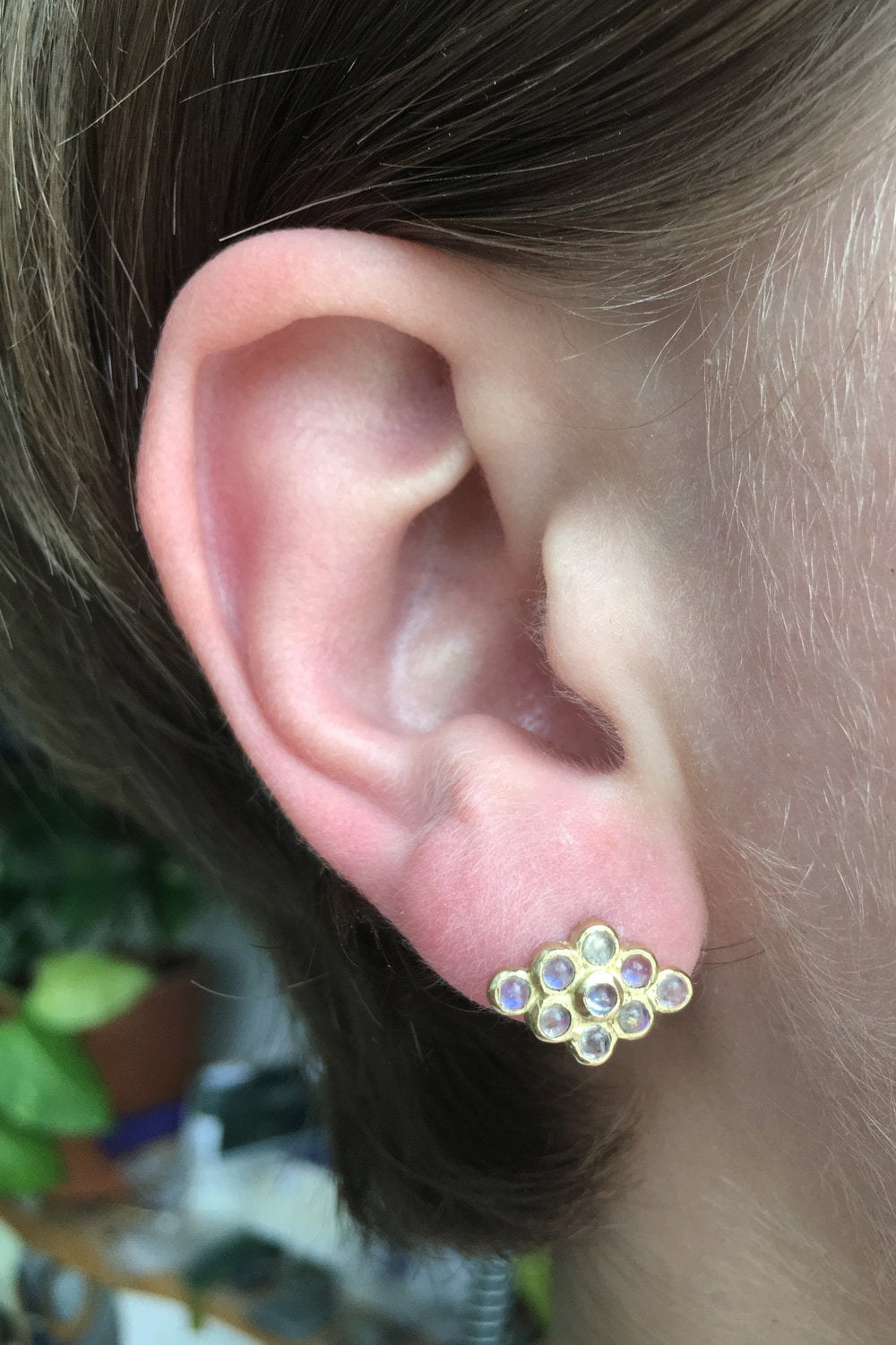 Moonstone Honeycomb Earrings
