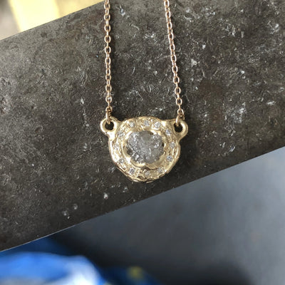 Rough Diamond Halo Pendant