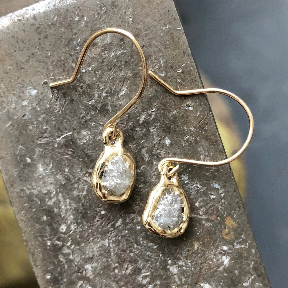 Rough Diamond Solitaire Earrings