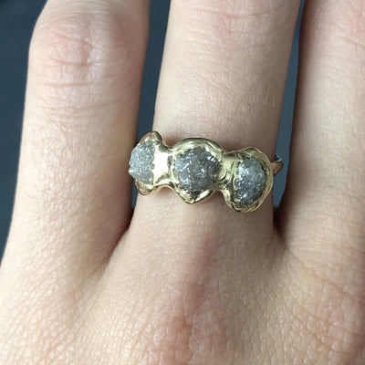 Triple Rough Diamond Ring