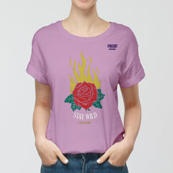 Yellow Flames Stay Wild Rose T-Shirt