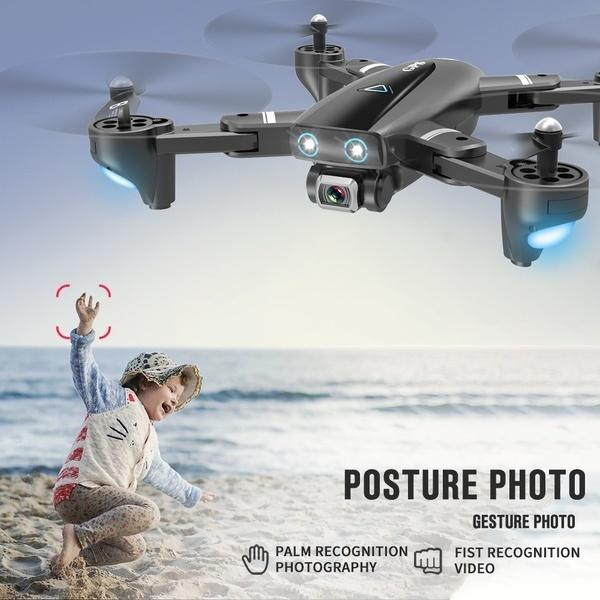 The 2020 Newest GPS Remote Control Drone Quadcopter UAV with 1080P HD FPV 120° Wide-angle Camera + Optical Flow Positioning + V-Sign + Gesture Video + Real-time Transmission + Long-term Flight + Gravity Sensing