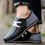 Men's Lightweight Casual Shoe Men Striped Lace Up Breathable Fashion Designed Shoe