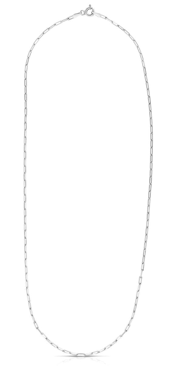 Paperclip Diamond Cut Paperclip Necklace with Pear Shaped Lobster Clasp