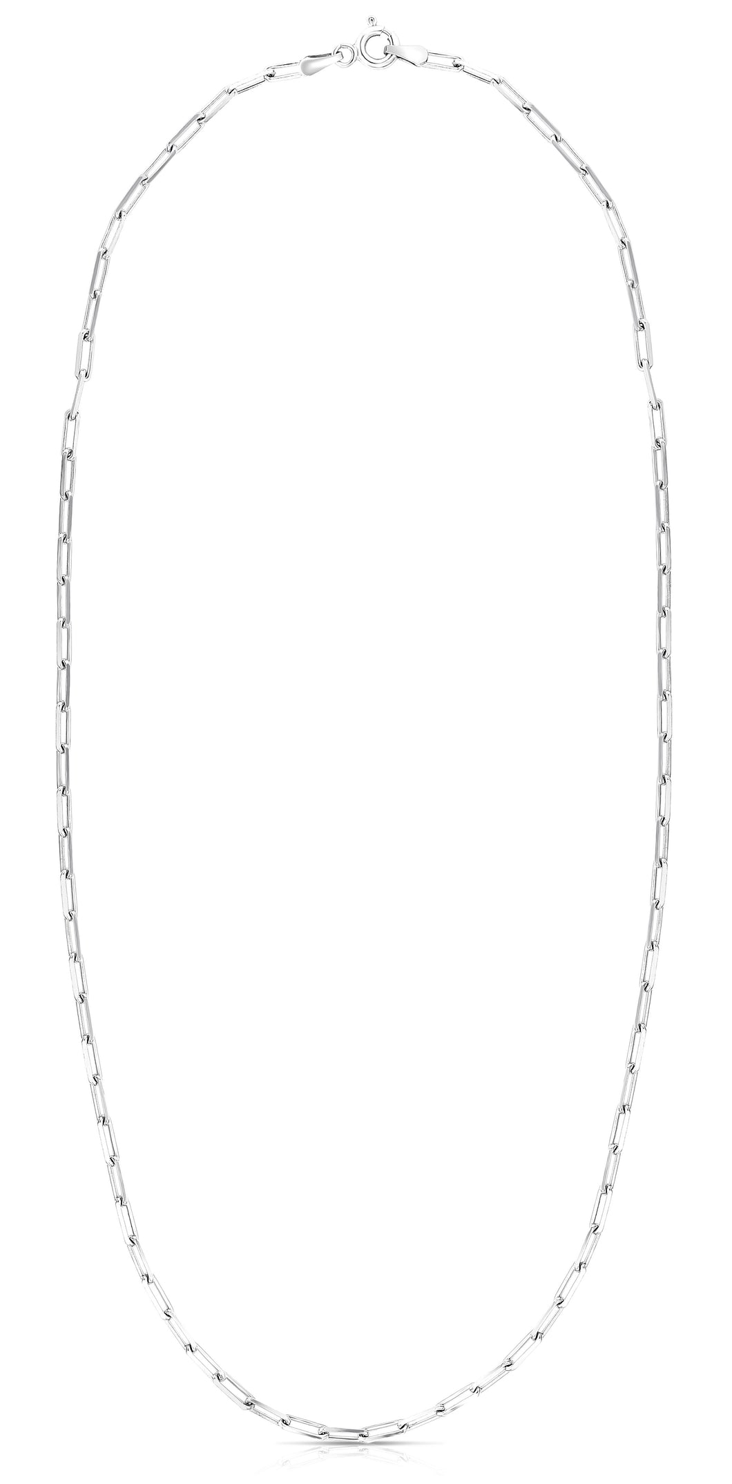 Diamond Cut Paperclip Necklace with Pear Shaped Lobster Clasp