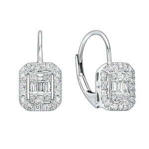 14KTW Diamond Baguette Halo Pave Earring 1/3 Ct, Danwerke Jewelers, ER10116-4WC