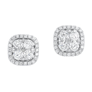 14KTW Uno Cushion Halo Earrings 1 Ctw, Danwerke Jewelers, ER10257-4WC