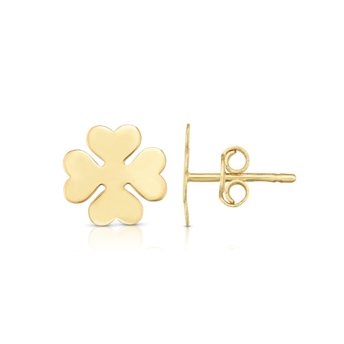 Polished Post Clover Earring with Push Back Clasp