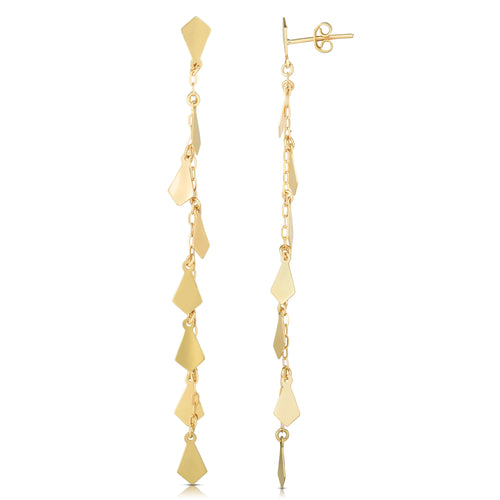 Polished Tear Drop Drop Earring with Push Back Clasp
