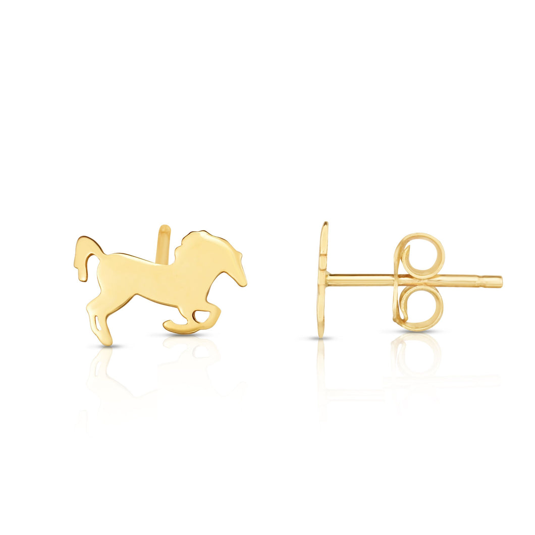 Polished Horse Stud Earring with Push Back Clasp