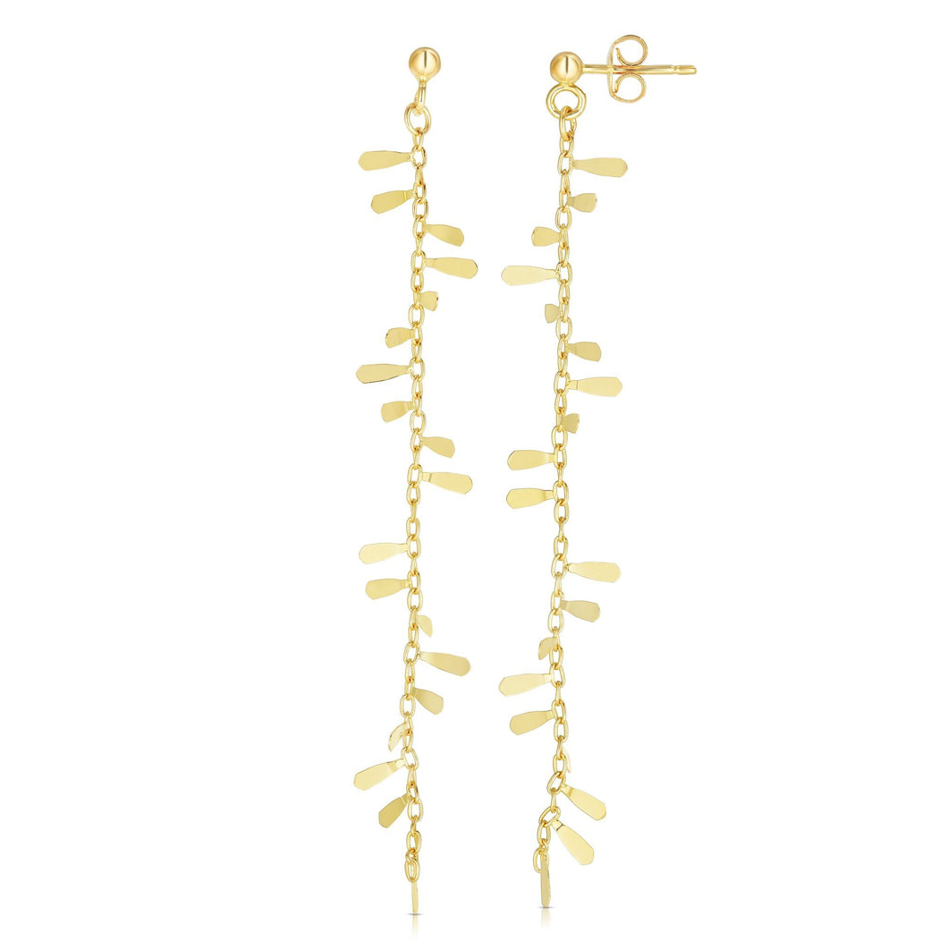 14kt Gold Yellow Polished Drop Petal Earrings with Push Back Clasp