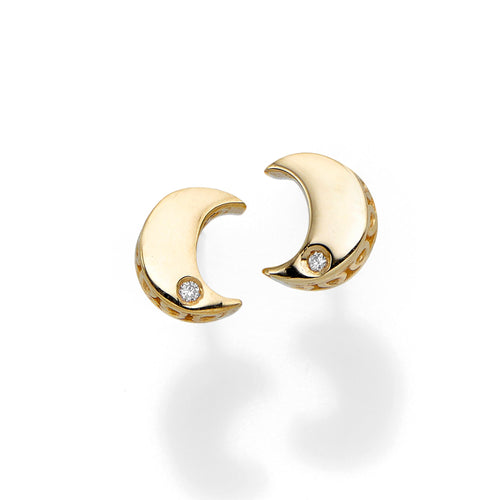 Polished Post Moon Earring with Push Back Clasp with 0.0100ct 1