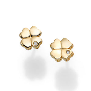 Polished 4 Leaf Clover Earring with Push Back Clasp with 0.0100ct 1
