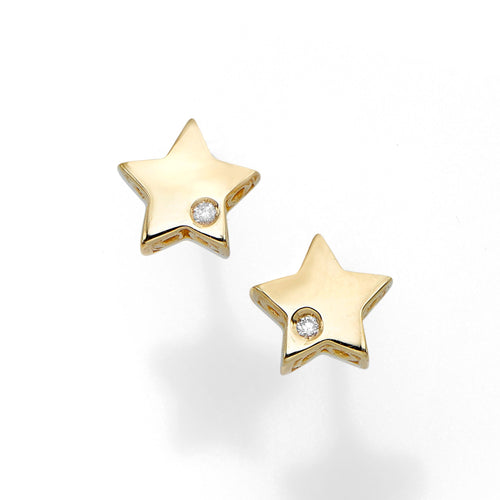 Polished Post Star Earring with Push Back Clasp with 0.01ct 1