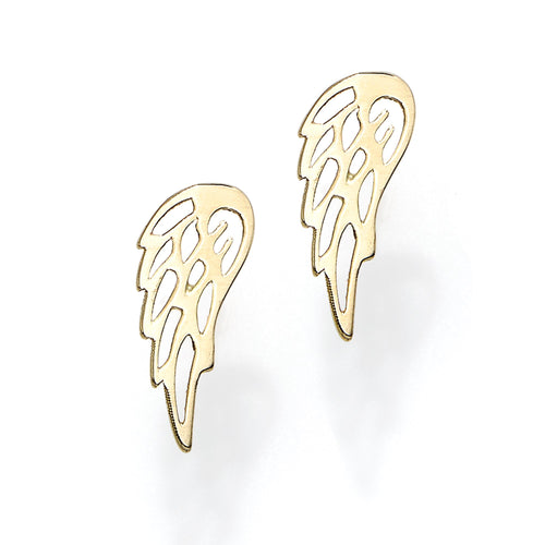 Polished Wing Post Earring with Push Back Clasp