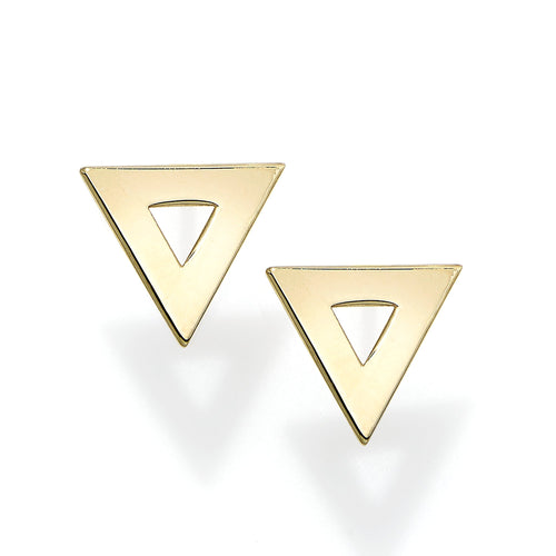Polished Triangle Post Earring with Push Back Clasp
