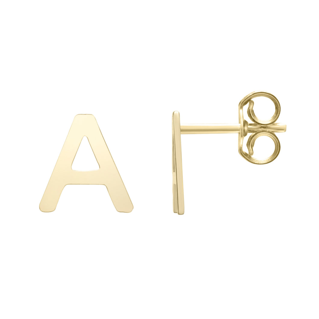 Polished  Initial-A Post Earring with Push Back Clasp