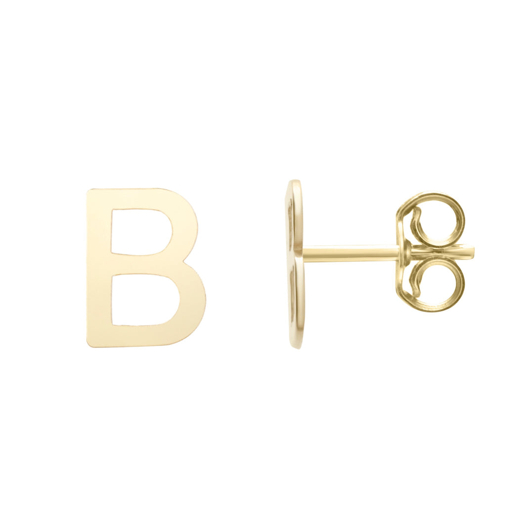 Polished  Initial-B Post Earring with Push Back Clasp