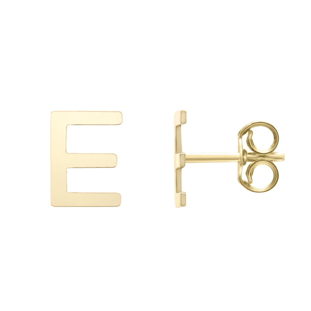Polished  Initial-E Post Earring with Push Back Clasp