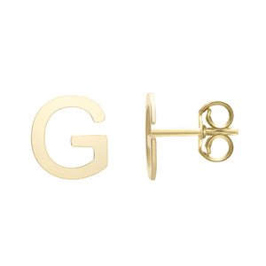 Polished  Initial-G Post Earring with Push Back Clasp