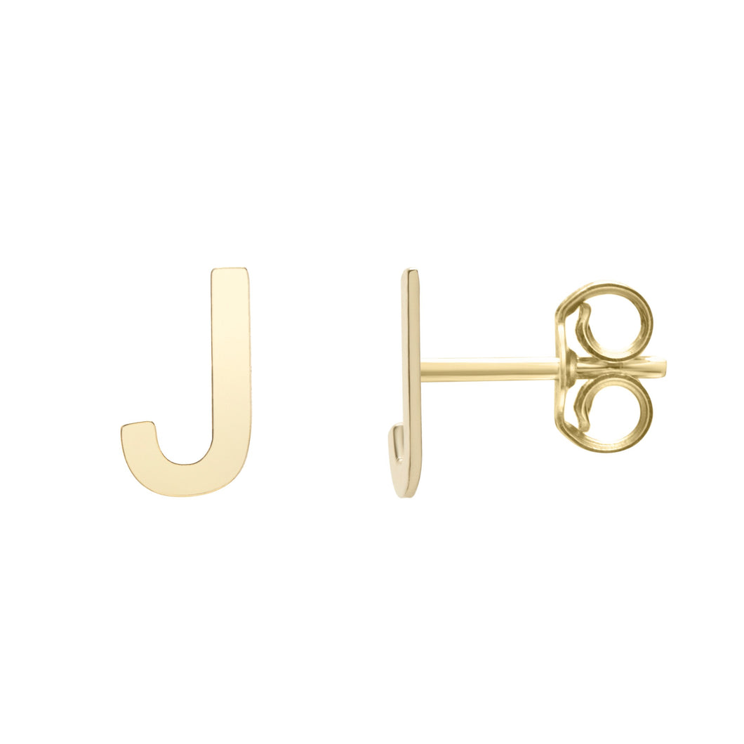 Polished  Initial-J Post Earring with Push Back Clasp