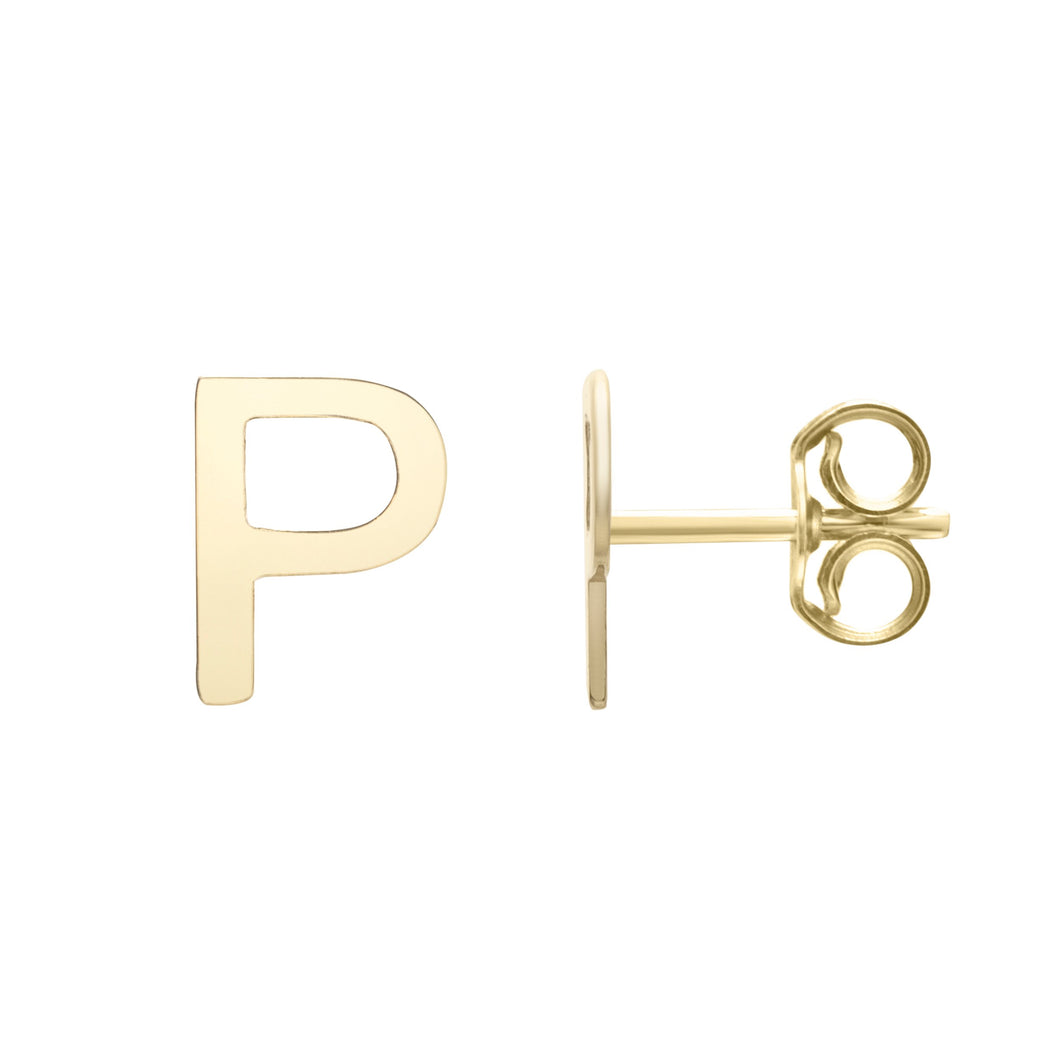 Polished  Initial-P Post Earring with Push Back Clasp