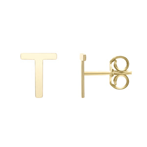 Polished  Initial-T Post Earring with Push Back Clasp