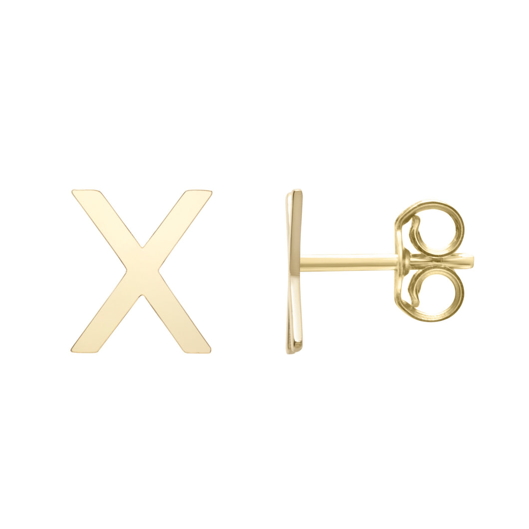 Polished  Initial-X Post Earring with Push Back Clasp