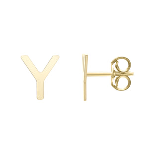 Polished  Initial-Y Post Earring with Push Back Clasp