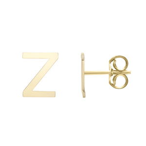 Polished  Initial-Z Post Earring with Push Back Clasp