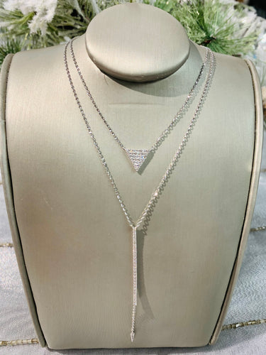 14K White Layered Diamond Necklace