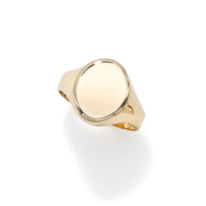 14kt Yellow Gold Polished Oval Signet Ring - size 7