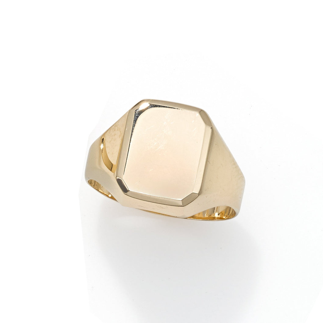 14kt Yellow Gold Polished Rectangle Signet Ring
