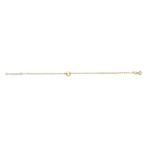 "14kt Gold Chain Polished 0.75"" Extender Heart Bracelet with Spring Ring Clasp"