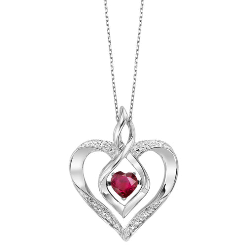 SS Diamond ROL-Birthst Heart Ruby Basics Pendant 1/25ctw, Danwerke Jewelers, ROL1165R