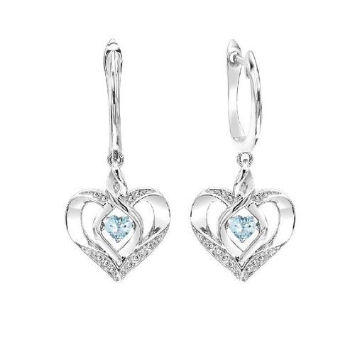SS Diamond ROL-Birthst Heart Aquamarine Basics Earring 1/165Ct, Danwerke Jewelers, ROL2165A