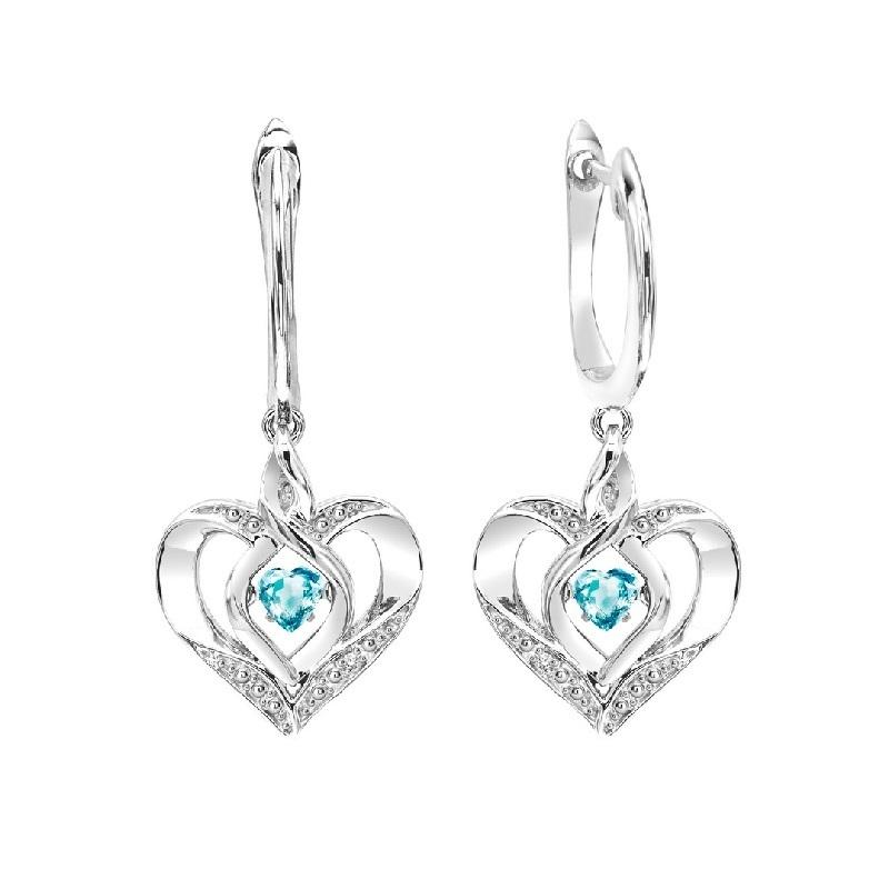 SS Diamond ROL-Birthst Heart Blue Topaz Basics Earring, Danwerke Jewelers, ROL2165B